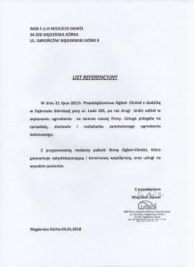 WGB F.U.H. Wojciech Gaweł - Referencje dla Firmy OGBET