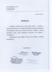 INVEST HOUSE SP. Z O.O. - Referencje dla Firmy OGBET