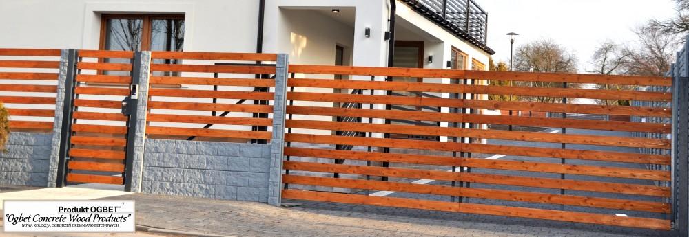 ogrodzenie betonowe z drewnianą bramą
