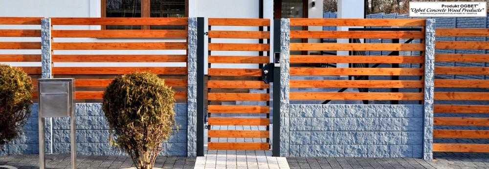 ogrodzenie betonowo-drewniane