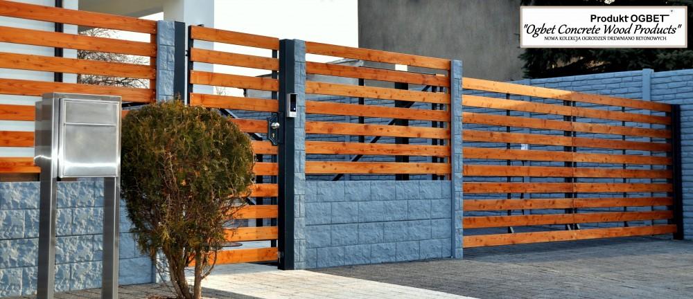 ogrodzenie drewniano betonowe