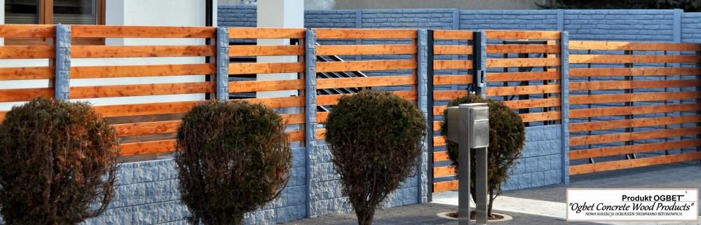 ogrodzenia betonowe-drewniane