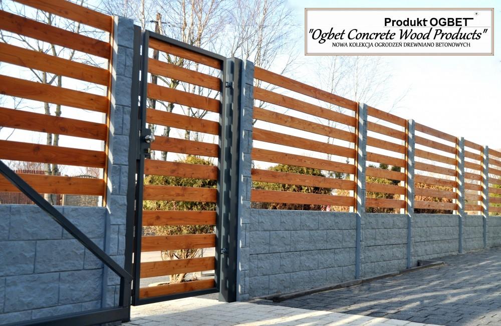 ogrodzenia betonowo drewniane