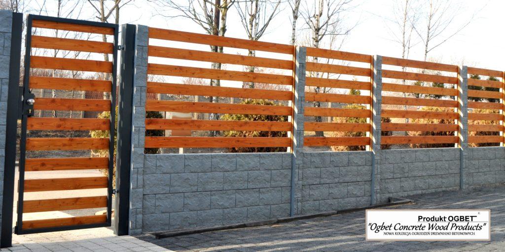 ogrodzenie drewniane z betonowym murkiem